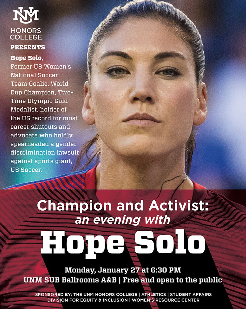 Flyer for Hope Solo event